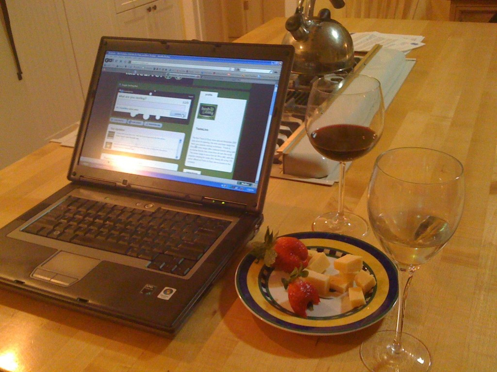 laptop wine and cheese