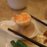 2 shrimp dumpling chopsticks