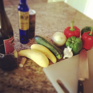 Ingredients for vegetarian ratatouille