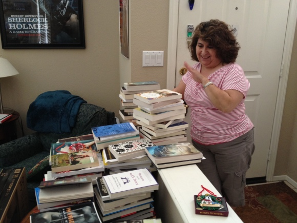 Florinda says goodbye to her books.