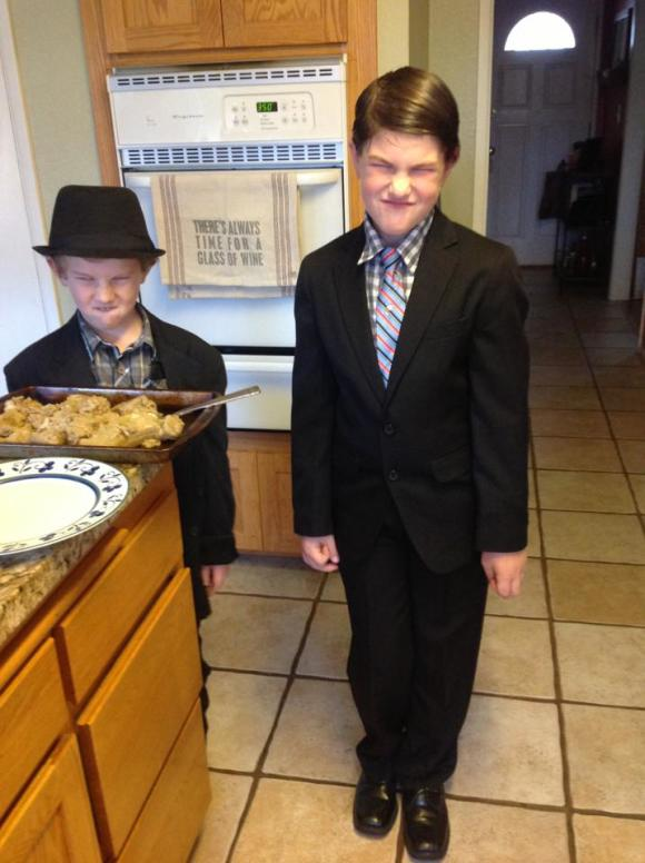 dressed up boys on thanksgiving