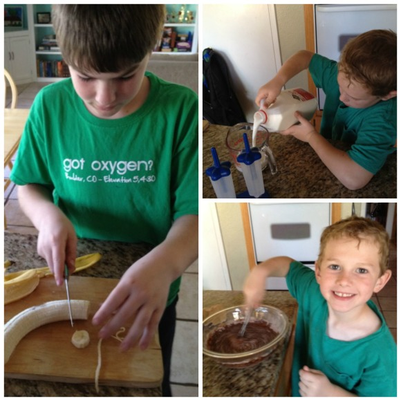 kids making pudding pops #shop