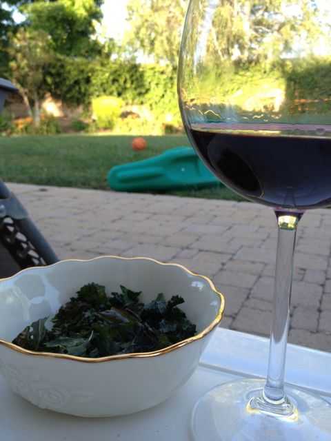 kale chips and wine