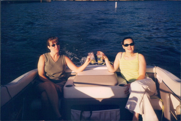 kim and lisa on a boat