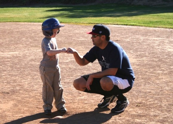 baseball coach fist bump