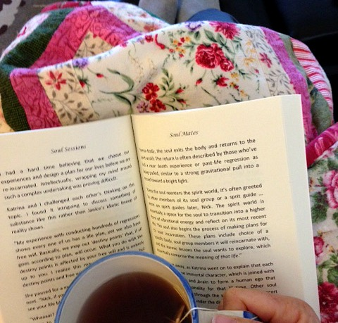 reading with quilt and tea