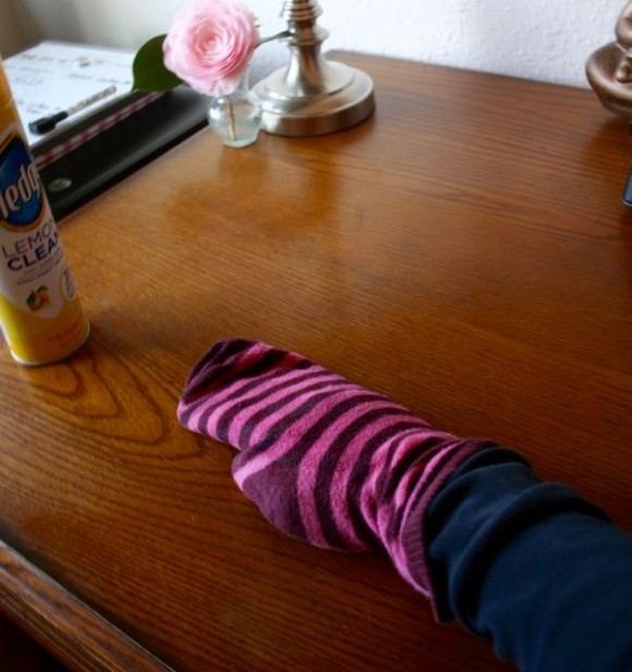 dusting with socks