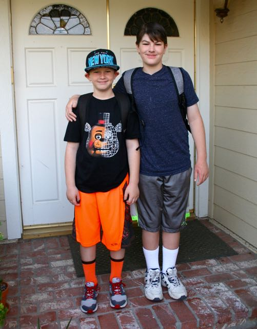 first day of school brothers porch