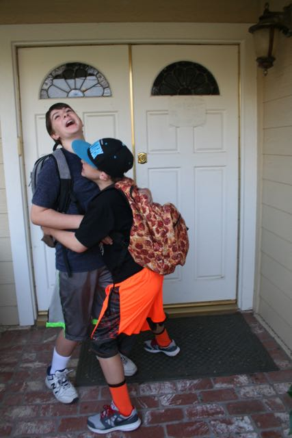first day of school silly hug