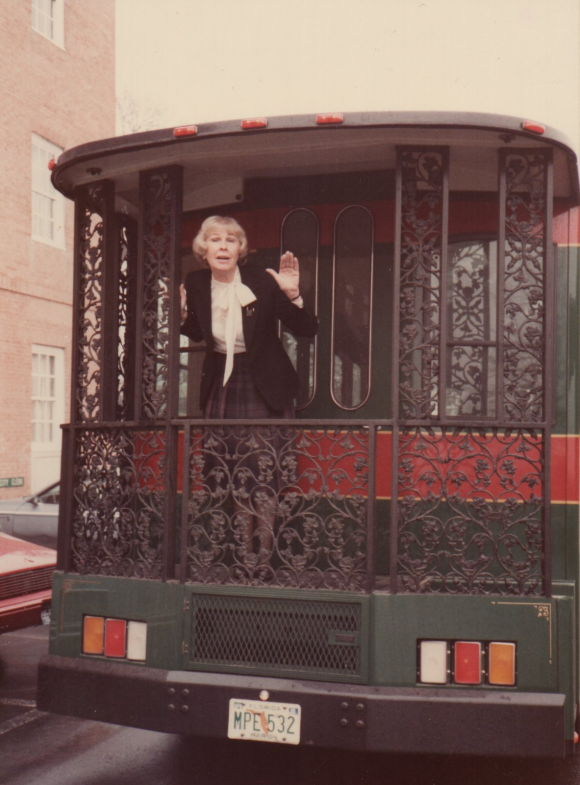 Mary Tracy on trolley